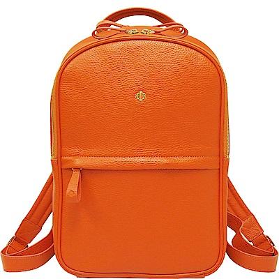 OBBI LAI 橘色荔枝紋牛皮後背包-M