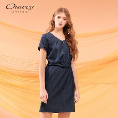 OUWEY歐薇 仿丹寧扭結短袖洋裝(藍)