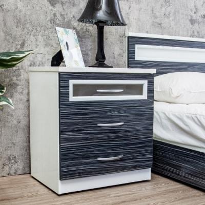 Birdie南亞塑鋼-2尺三抽塑鋼床頭櫃/抽屜收納櫃/置物櫃(鐵刀木色)-60x43x67