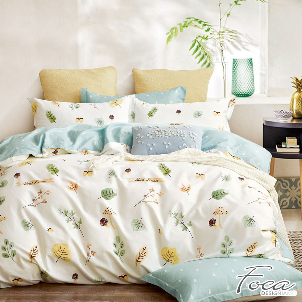 FOCA小葉物語-單人-韓風設計100%精梳純棉三件式薄被套床包組