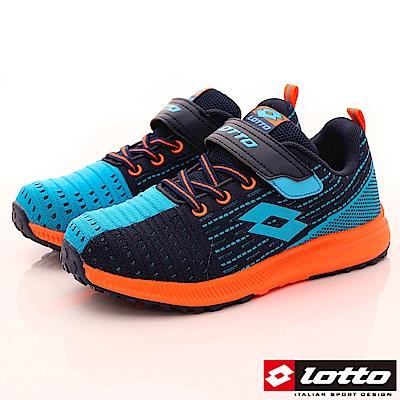 Lotto義大利運動鞋 飛織機能款 RSI716丈青水藍橘(中大童段)