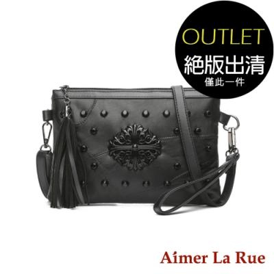 Aimer La Rue 羊皮鉚釘流蘇手提側背包(黑色)(絕版出清)