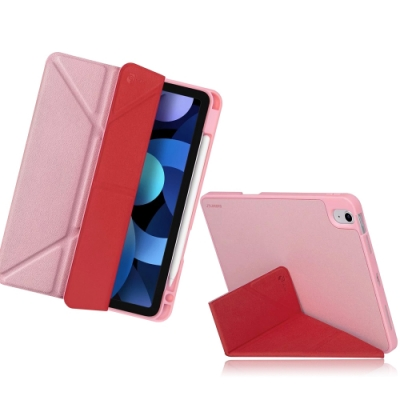 JTLEGEND 2020 iPad Air 4 10.9吋 Amos 相機快取多角度折疊布紋皮套(Apple pencil筆槽)櫻花粉
