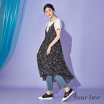 beartwo 兩件式短袖碎花細肩帶洋裝(黑色)