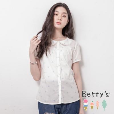 betty's貝蒂思 圓翻領印鞋透膚開襟襯衫(白色)