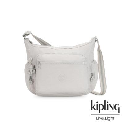 Kipling 探索亮銀灰多袋實用側背包-GABBIE