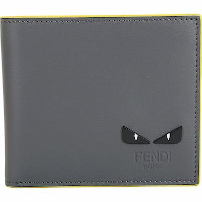 FENDI Bag Bugs 撞色鉚釘魔眼牛皮八卡短夾(鐵灰)