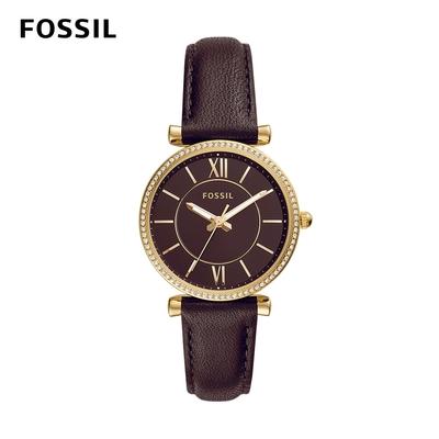【FOSSIL】Carlie 古典輕奢華仕女錶 咖啡色真皮錶帶 35MM ES4973