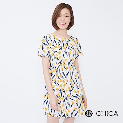 CHICA 花園饗宴滿版鬱金香娃娃洋裝(2色)