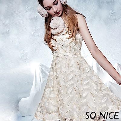 SO NICE優雅羽毛刺繡網紗洋裝