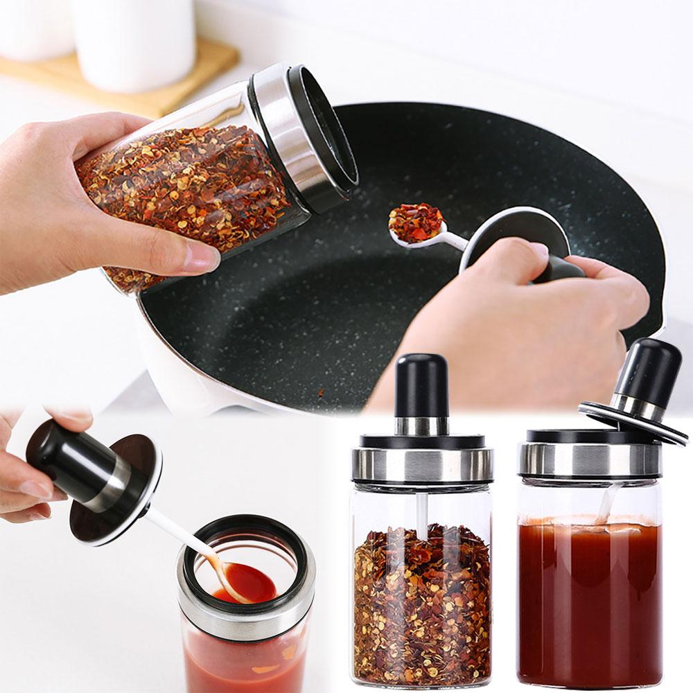 EZlife高硼硅一體式密封調味罐(6入組)贈矽膠夾鏟