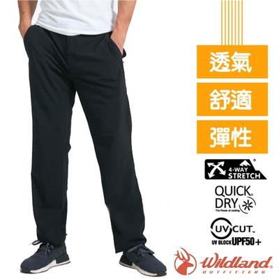荒野 WildLand 男新款 四向彈性抗UV/快乾透氣吸濕排汗長褲_黑