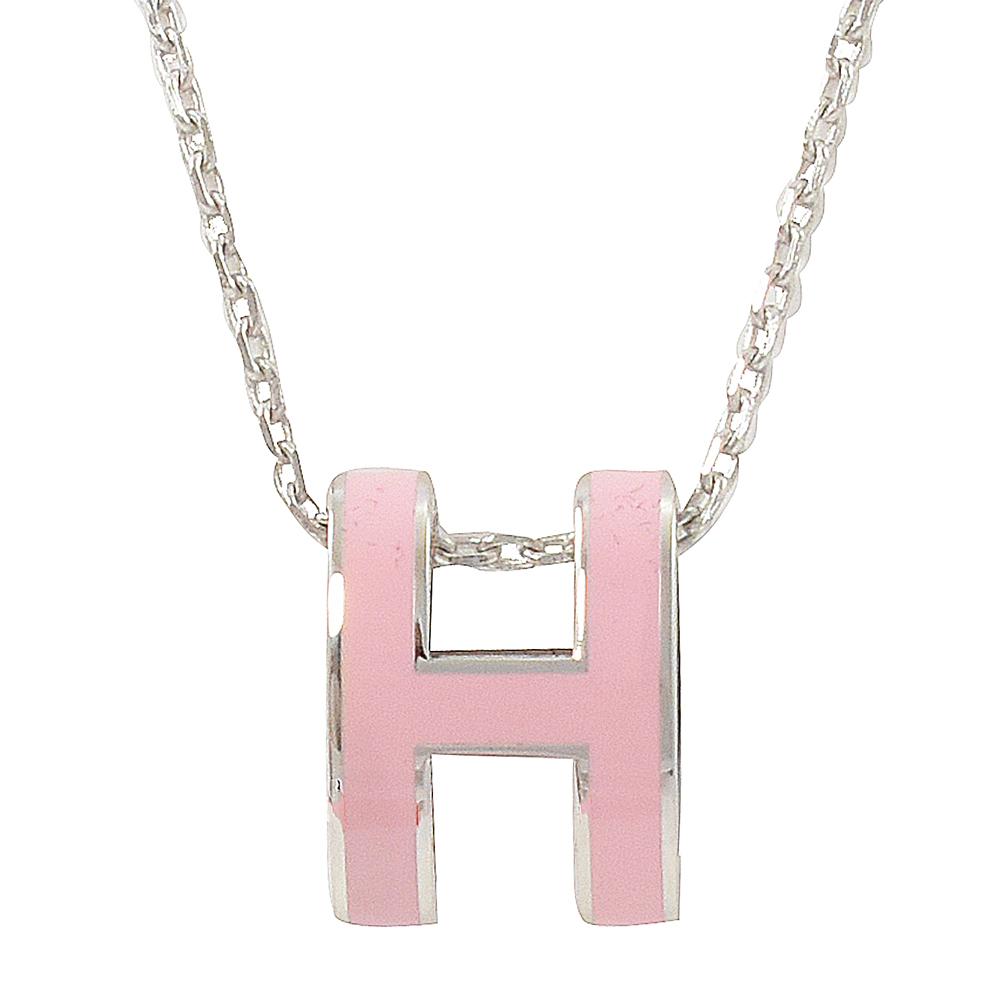HERMES H POP款LOGO圓弧型項鍊(粉/銀)