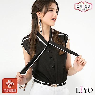 襯衫MIT抗菌除臭黑白拼接OL包袖綁帶女裝黑上衣LIYO理優-專利系列