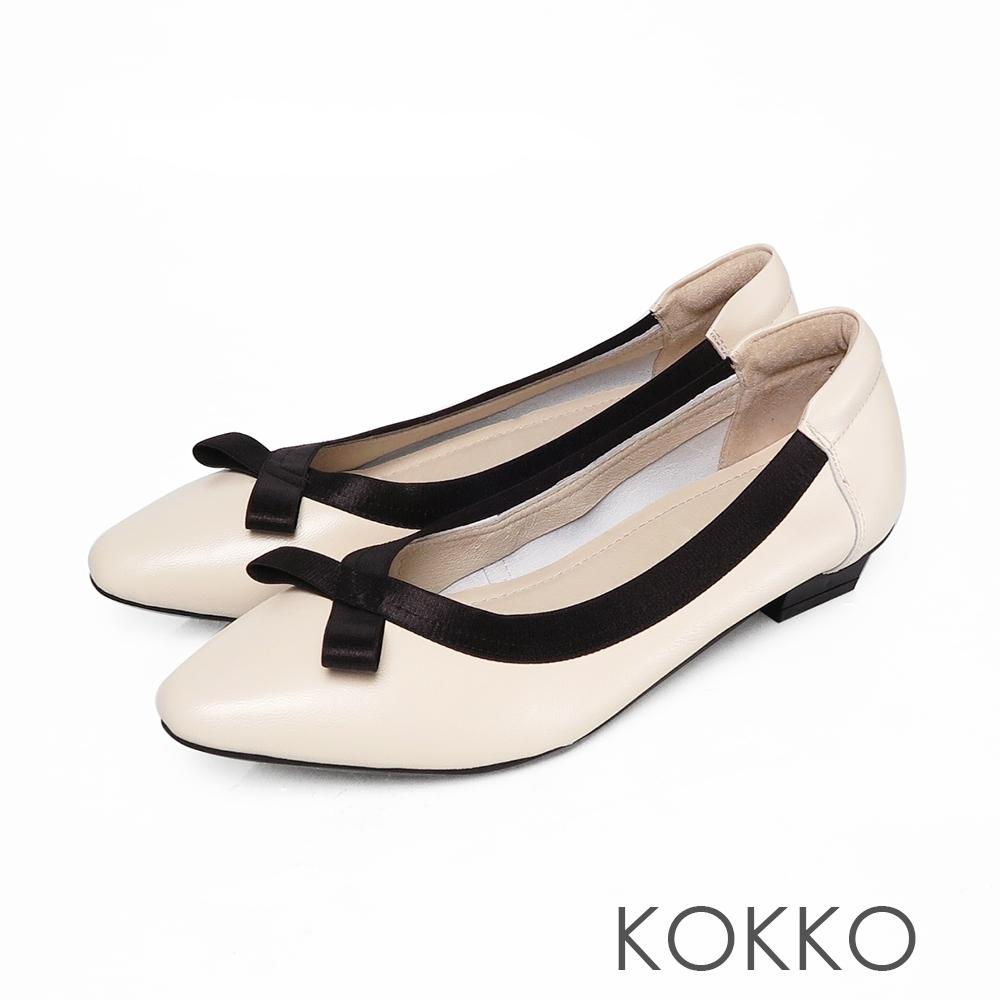KOKKO優雅方頭羊皮蝴蝶結芭蕾平底鞋-椰奶白