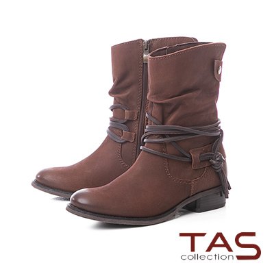 TAS繫踝綁帶抓皺金屬圓扣牛皮中筒靴–微醺棕