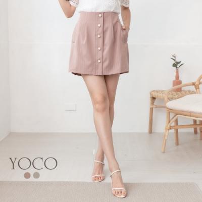 東京著衣-YOCO 低調奢華珍珠鈕釦直條紋假排釦A字褲裙-S.M.L(共二色)