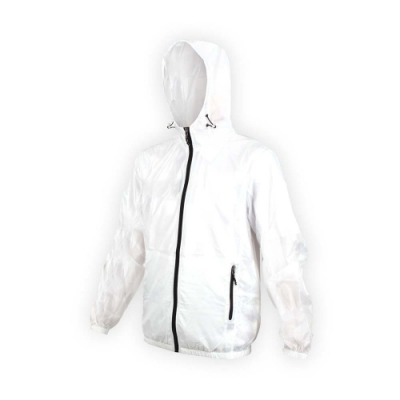 SOFO 男抗UV果凍外套-可收納-連帽外套 慢跑 路跑 白黑