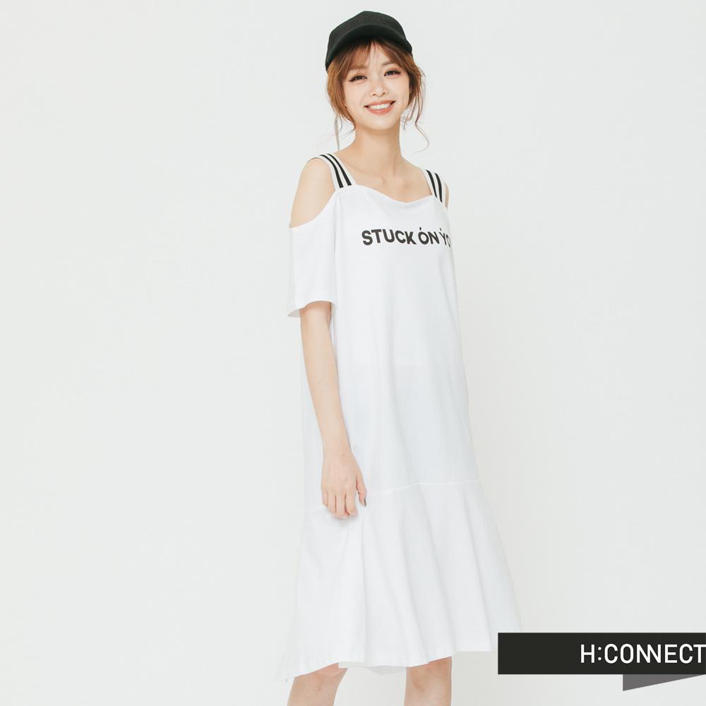 H:CONNECT 韓國品牌 女裝 - 露肩一件式文字洋裝-白(快)