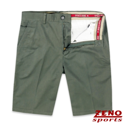 ZENO 彈力舒適暗直紋休閒短褲‧綠色