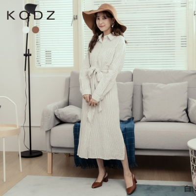 東京著衣-KODZ 簡約無印風直條紋腰綁結側開衩襯衫洋裝(共二色)