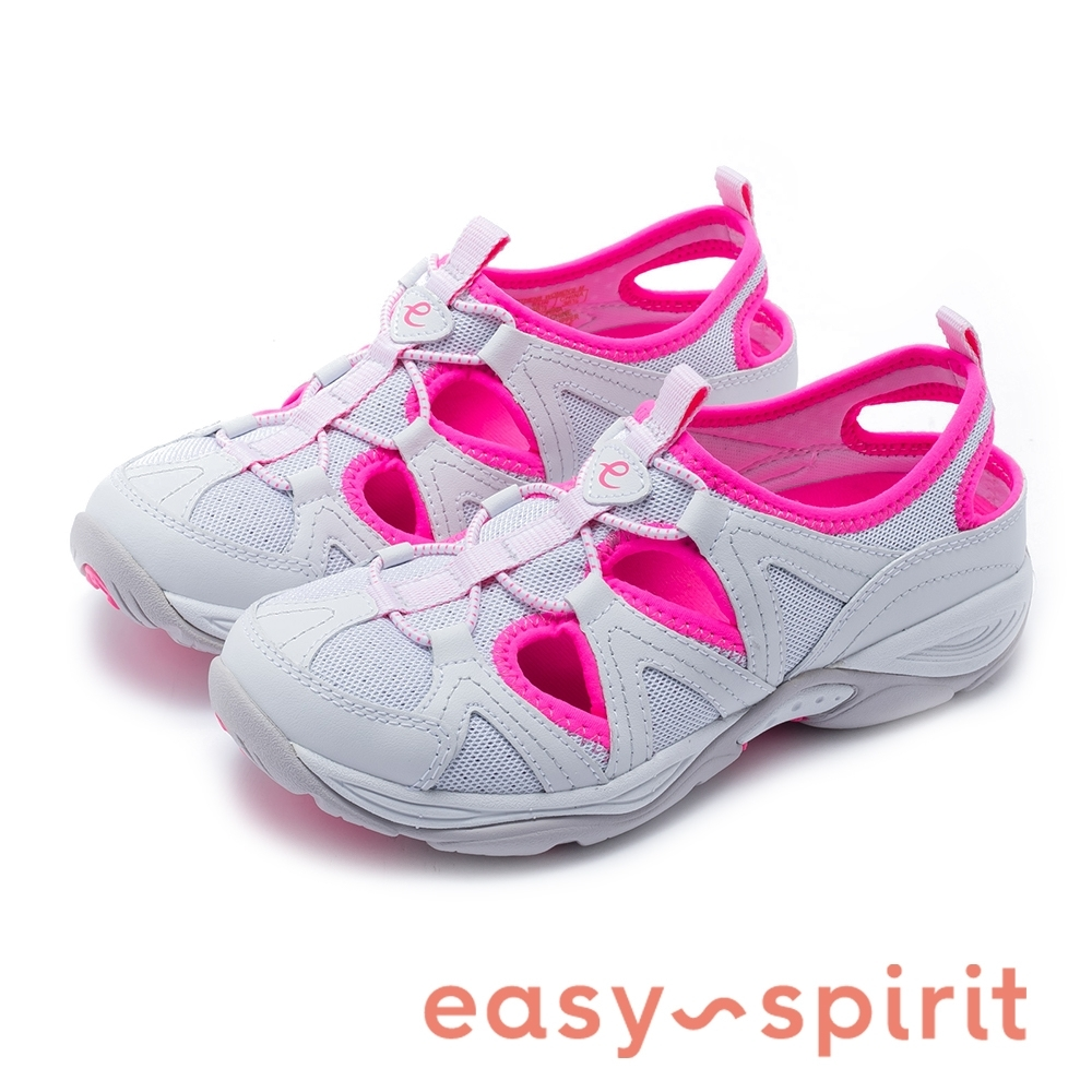 Easy Spirit-seEARTHEN8 亮彩後跟鏤空撞色涼休閒鞋-白粉