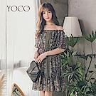 東京著衣-yoco 優雅女孩一字領雪紡花洋裝-S.M.L(共一色)