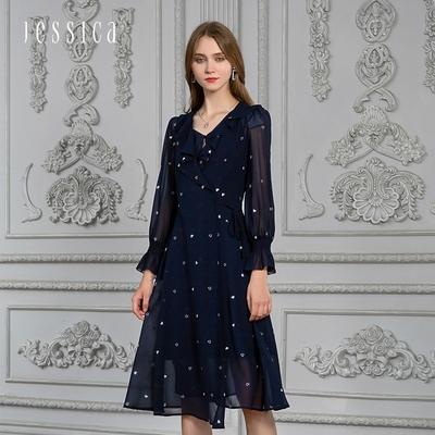 JESSICA - 浪漫荷葉邊領透膚雪紡長袖長洋裝(深藍)