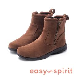 Easy Spirit-JONNI率性簡約拉鍊中筒靴-絨棕色