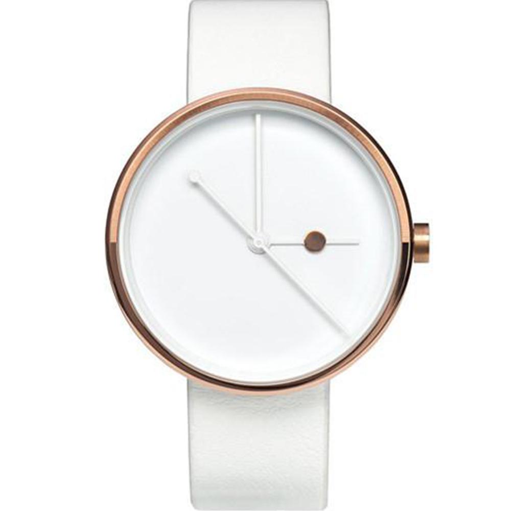 AÃRK 璀璨玫瑰金簡約真皮革腕錶 /白38mm @ Y!購物