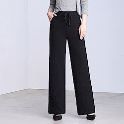 舒適闊腿條紋抽繩直筒褲S-3XL(共三色)WHATDAY