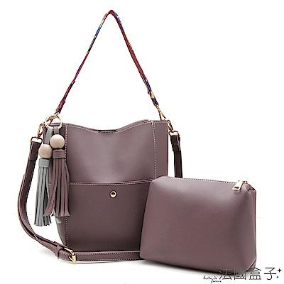 法國盒子 魅力典藏配色流蘇織帶三用包(共二色)