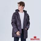 BRAPPERS 男款 可拆帽長版羽絨外套-深灰