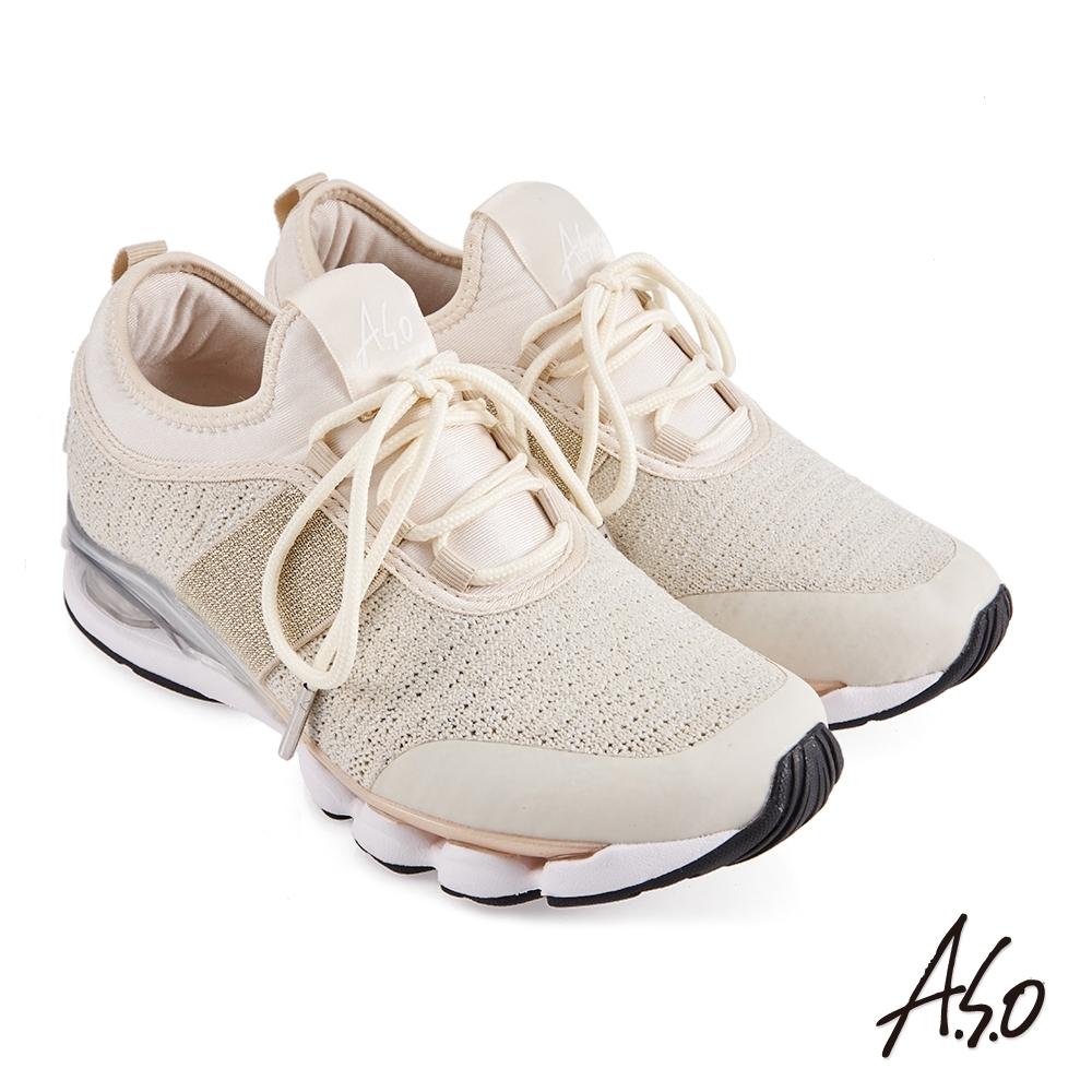 A.S.O  機能休閒 活力雙核心飛織布料直套運動鞋-金