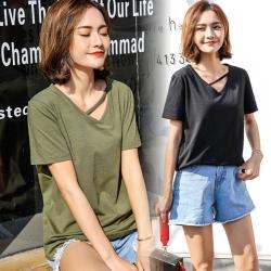 La BellezaV領斜線單條帶絲光棉素色T恤
