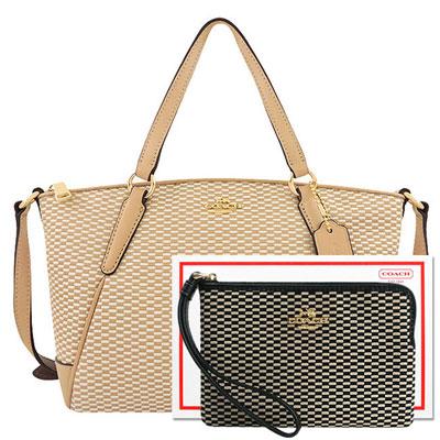 COACH 駝色織紋小型波士頓包+COACH 黑色織紋手拿包