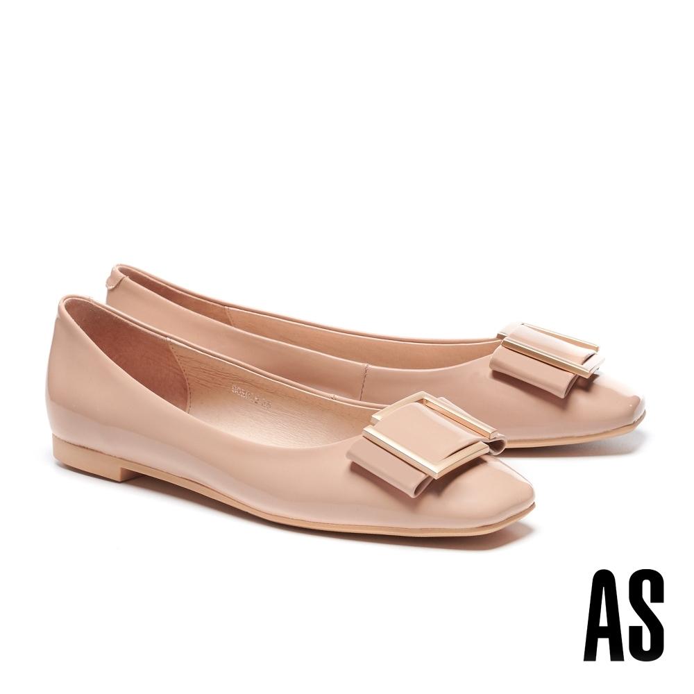 低跟鞋 AS 時尚金屬帶釦全真皮方頭低跟鞋-粉