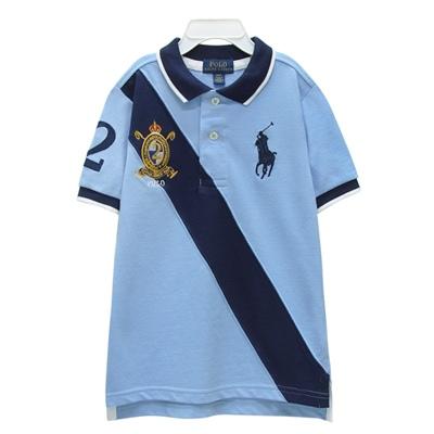 Ralph Lauren 小童徽章大馬拼接短袖POLO衫-藍色(4/4T)