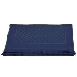 GUCCI 經典雙G LOGO織花羊毛流蘇圍巾(藍/綠色)