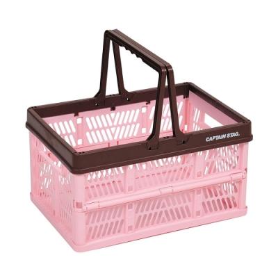 日本鹿牌Pearl提把摺疊籃/野餐籃-粉紅色 UL-1032