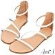 Ann'S黃金比例三條帶-頂級牛皮後拉鍊平底涼鞋(版型偏小)-白 product thumbnail 1