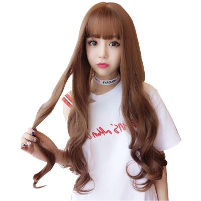 幸福揚邑 甜美韓風齊瀏海波浪長卷髮美拍直播造型必備女用整頂假髮-亞麻黃