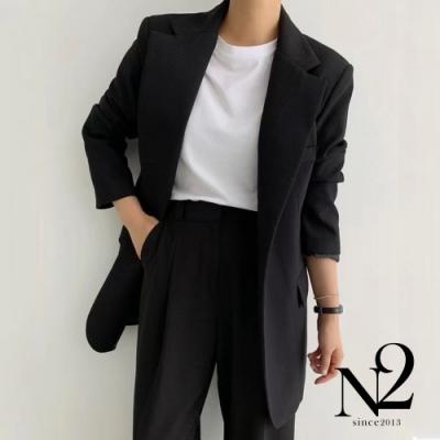 外套 正韓翻領小暗袋造型開衩綁帶設計西裝外套(黑)N2