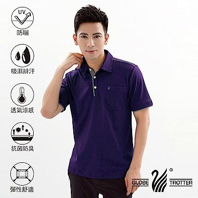 【遊遍天下】MIT男款抗UV吸濕排汗機能POLO衫GS10033深紫