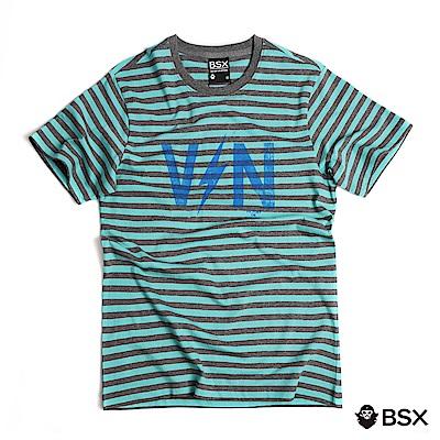 BSX 男裝VON品牌印花純棉T恤-10 綠/灰條紋