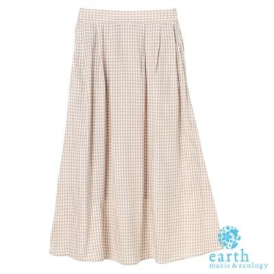 earth music 亞麻混紡格紋/素面打摺長裙