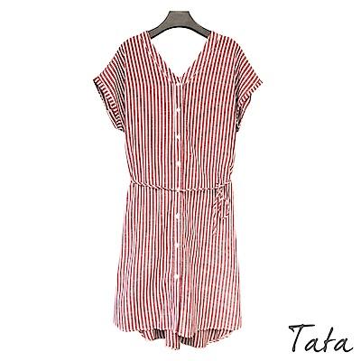 直條前後V領短袖洋裝 (附綁帶) TATA