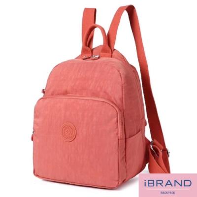 iBrand後背包 輕盈防潑水素色大口袋尼龍後背包-蜜桃橘