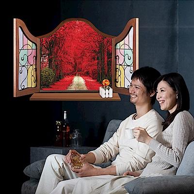 半島良品 DIY無痕壁貼-歐式假窗秋楓大道 MJ8017A 60x90cm