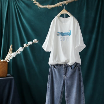 寬鬆韓版棉麻印花圓領T恤短袖上衣-設計所在